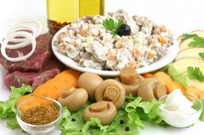 Салат из вареного мяса Богатырский.
