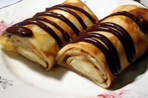 Блинчики с бананом и шоколадом.